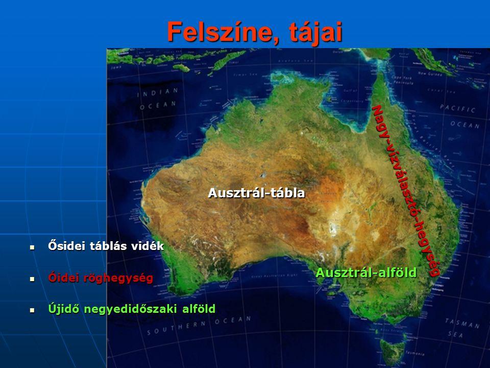 Felszíne, tájai Nagy-vízválasztó-hegység Ausztrál-tábla
