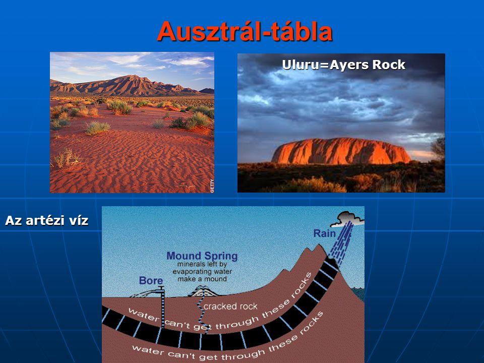 Ausztrál-tábla Uluru=Ayers Rock Az artézi víz