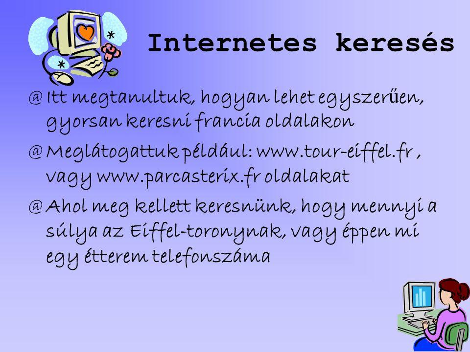Internetes keresés Itt megtanultuk, hogyan lehet egyszerűen, gyorsan keresni francia oldalakon.