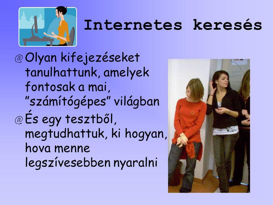 Internetes keresés Olyan kifejezéseket tanulhattunk, amelyek fontosak a mai, számítógépes világban.