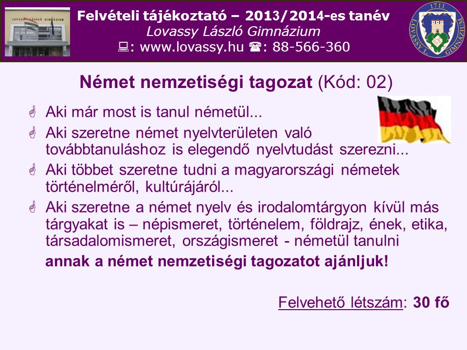 Német nemzetiségi tagozat (Kód: 02)