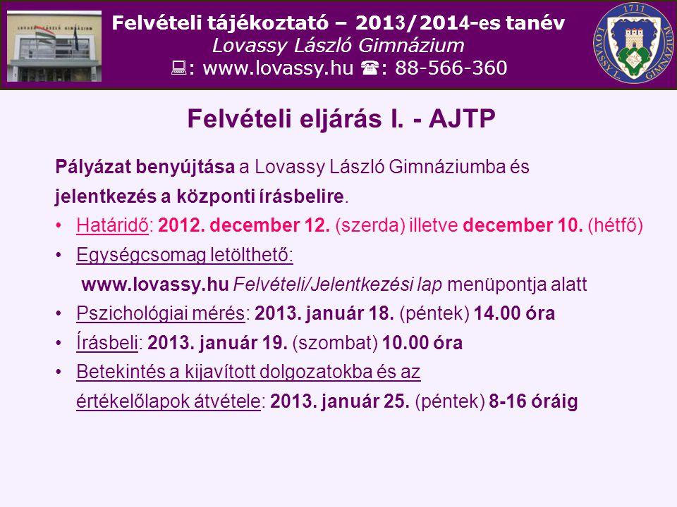 Felvételi eljárás I. - AJTP