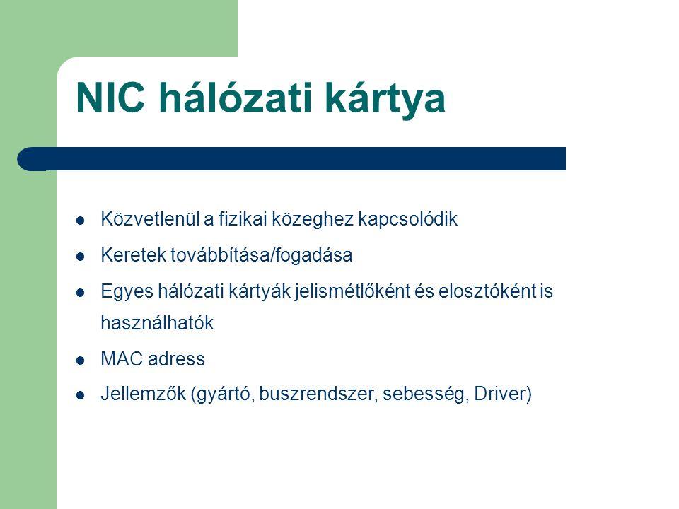 NIC hálózati kártya Közvetlenül a fizikai közeghez kapcsolódik