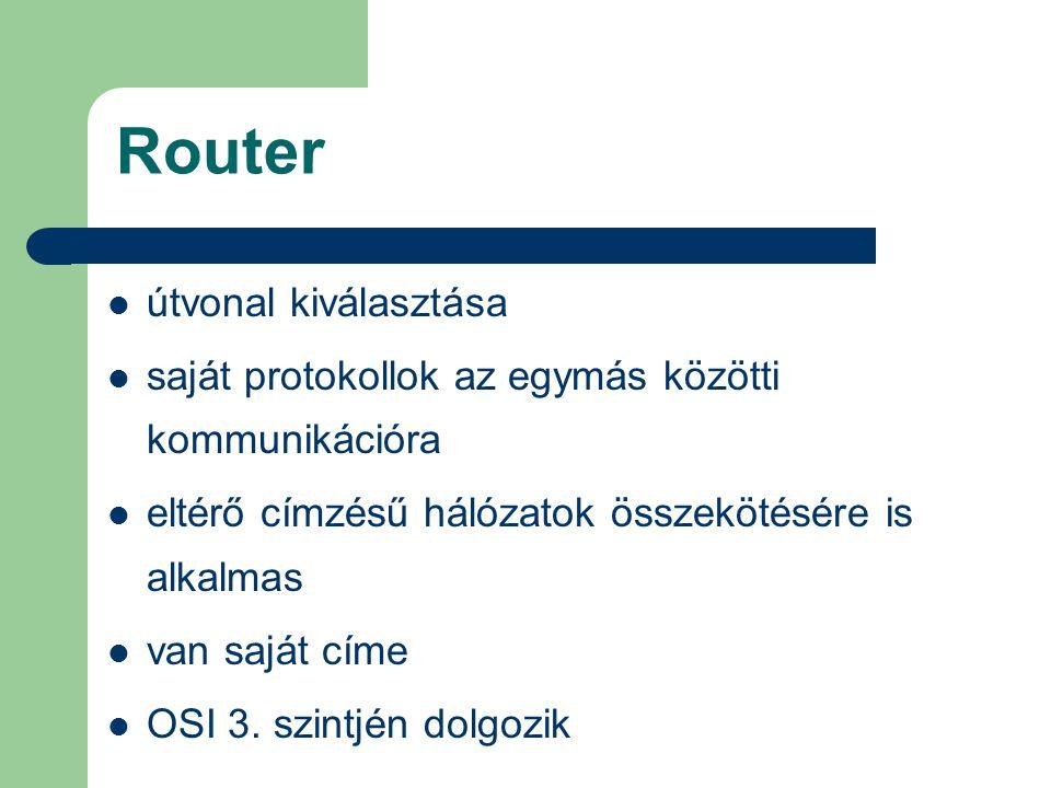 Router útvonal kiválasztása