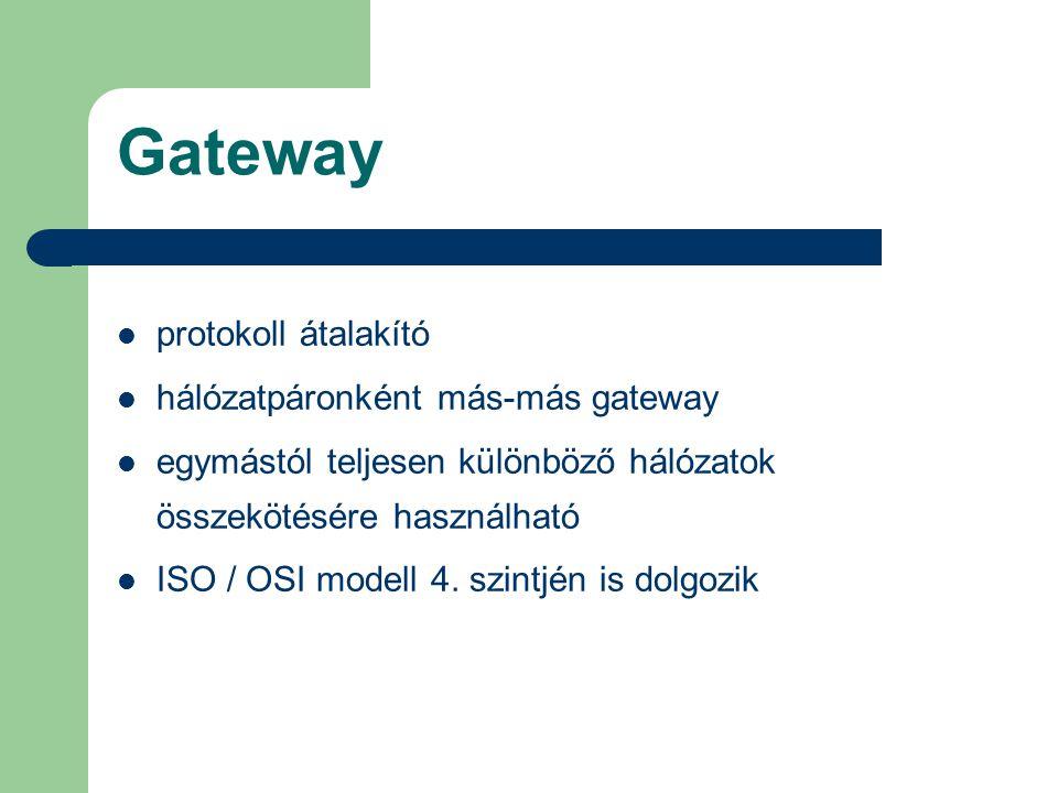 Gateway protokoll átalakító hálózatpáronként más-más gateway