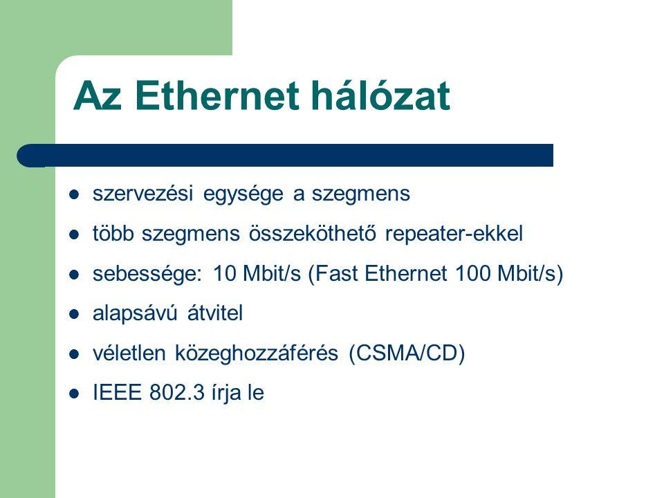 Az Ethernet hálózat szervezési egysége a szegmens