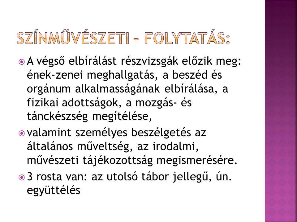 Színművészeti – folytatás: