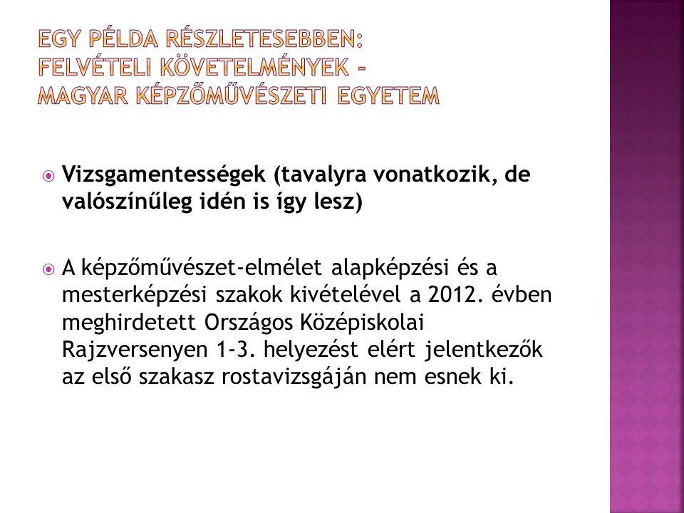 Egy példa részletesebben: Felvételi követelmények - Magyar Képzőművészeti Egyetem