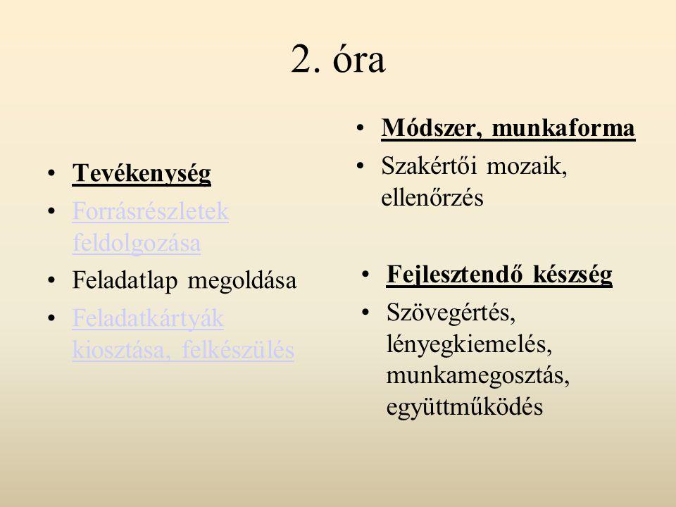2. óra Módszer, munkaforma Szakértői mozaik, ellenőrzés Tevékenység
