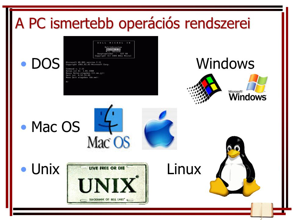A PC ismertebb operációs rendszerei