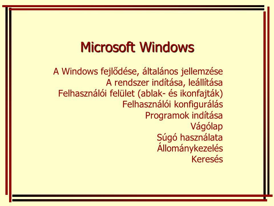 Microsoft Windows A Windows fejlődése, általános jellemzése