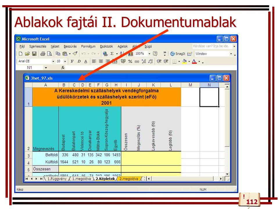 Ablakok fajtái II. Dokumentumablak