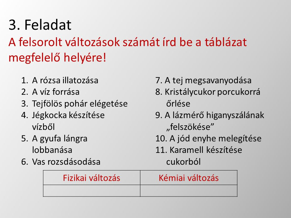 3. Feladat A felsorolt változások számát írd be a táblázat megfelelő helyére!