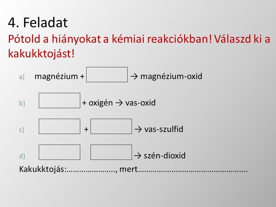 4. Feladat Pótold a hiányokat a kémiai reakciókban
