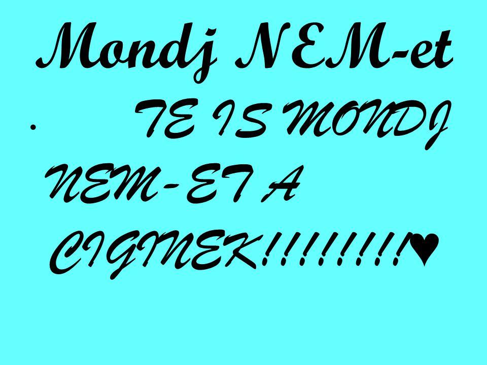 Mondj NEM-et TE IS MONDJ NEM-ET A CIGINEK!!!!!!!!♥