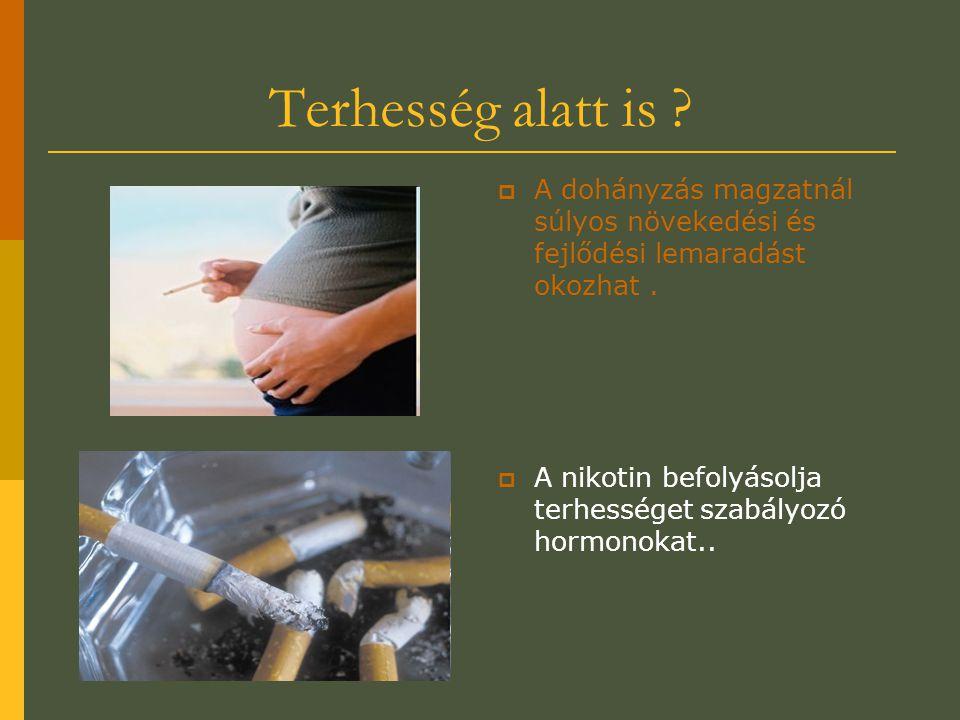 Terhesség alatt is A dohányzás magzatnál súlyos növekedési és fejlődési lemaradást okozhat .