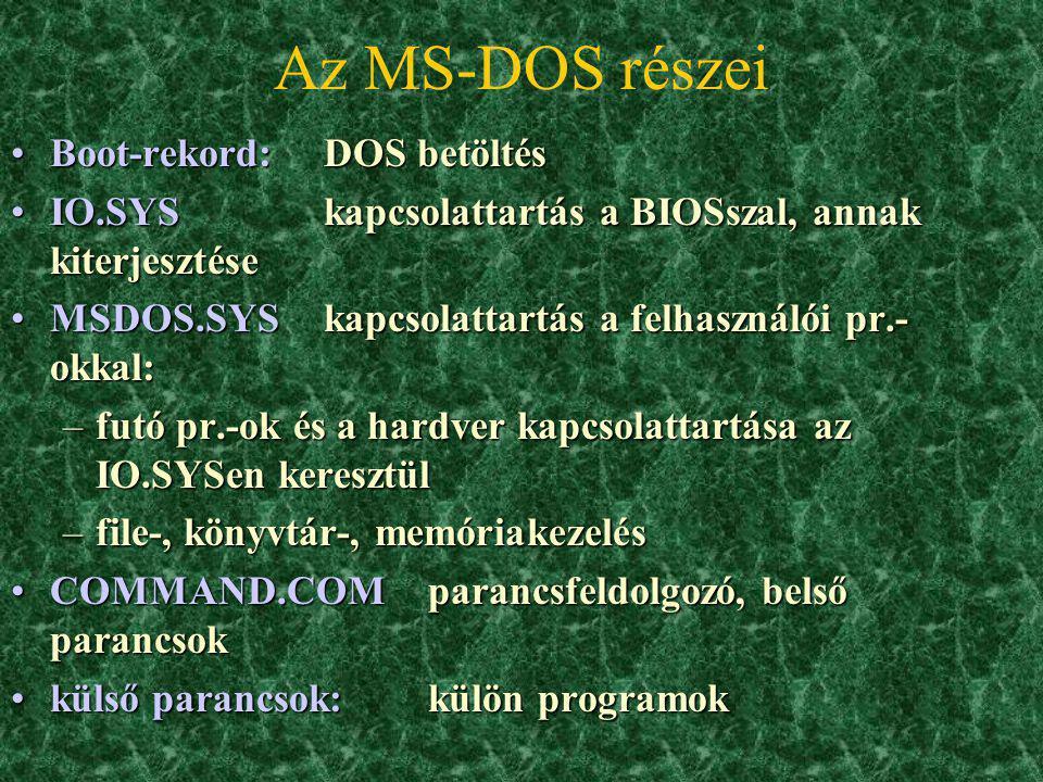 Az MS-DOS részei Boot-rekord: DOS betöltés