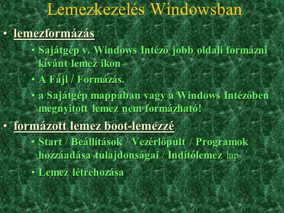 Lemezkezelés Windowsban