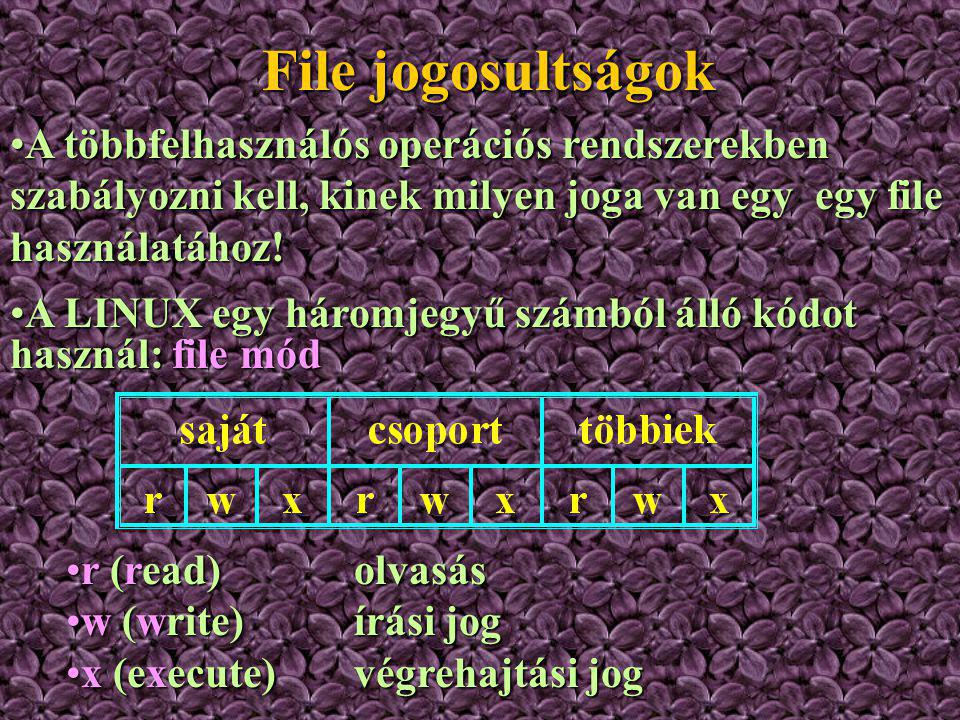 File jogosultságok A többfelhasználós operációs rendszerekben szabályozni kell, kinek milyen joga van egy egy file használatához!