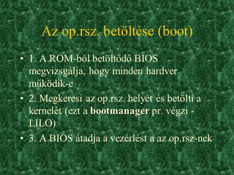 Az op.rsz. betöltése (boot)