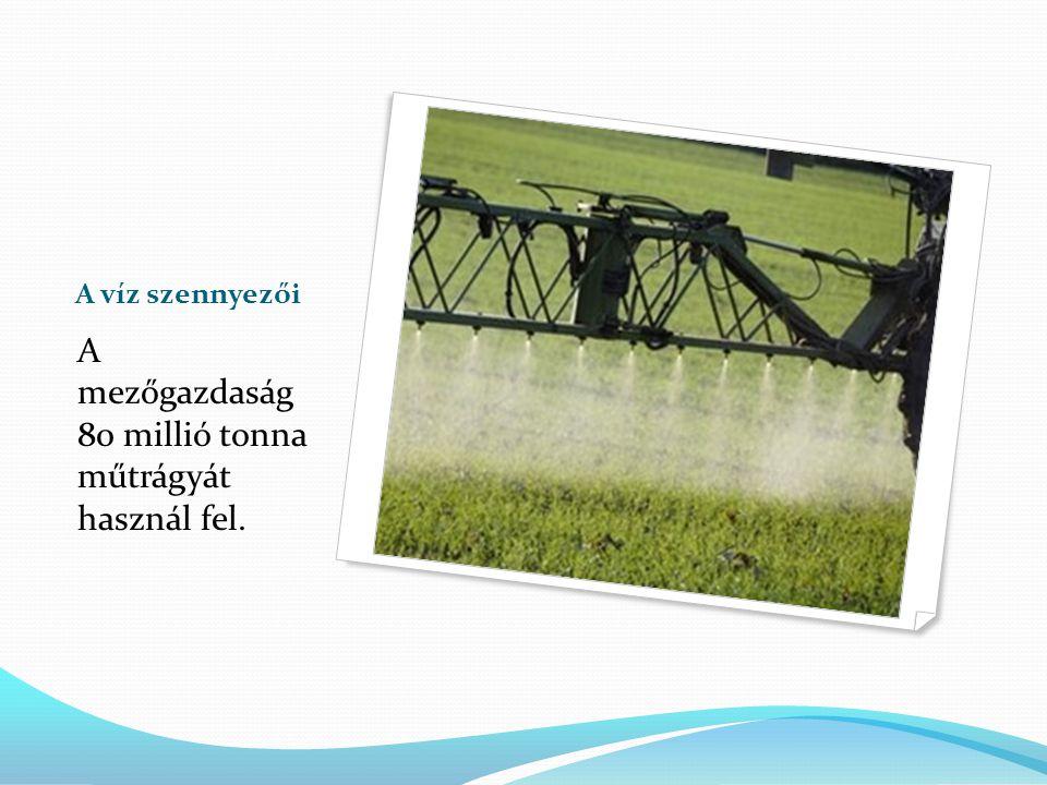 A mezőgazdaság 80 millió tonna műtrágyát használ fel.