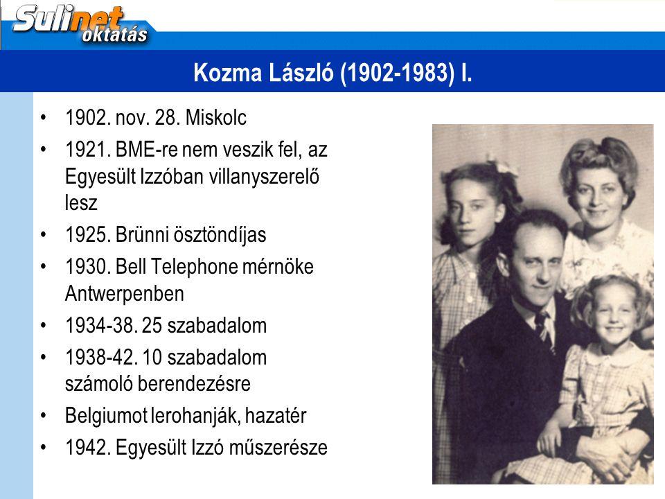 Kozma László (1902-1983) I. 1902. nov. 28. Miskolc