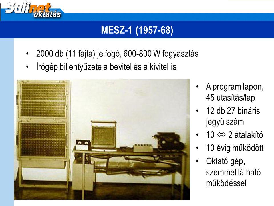 MESZ-1 (1957-68) 2000 db (11 fajta) jelfogó, 600-800 W fogyasztás