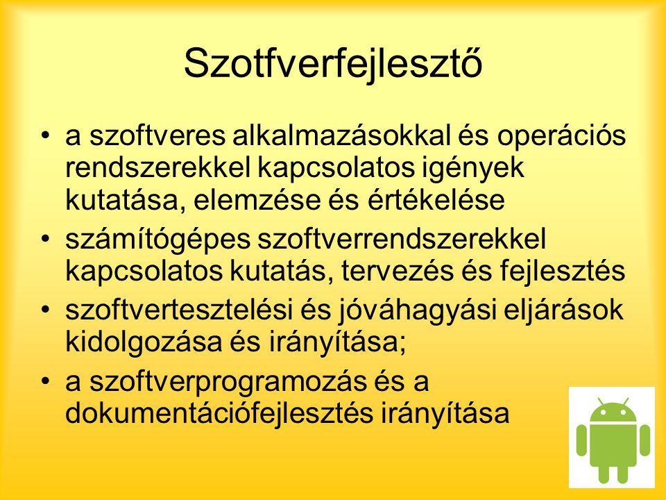 Szotfverfejlesztő a szoftveres alkalmazásokkal és operációs rendszerekkel kapcsolatos igények kutatása, elemzése és értékelése.