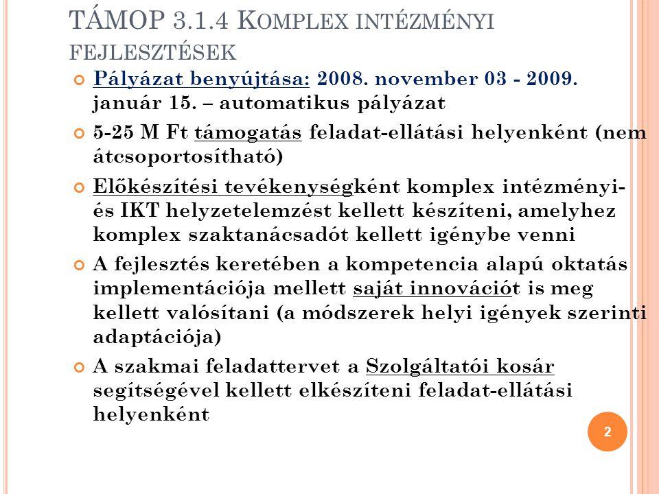 TÁMOP 3.1.4 Komplex intézményi fejlesztések