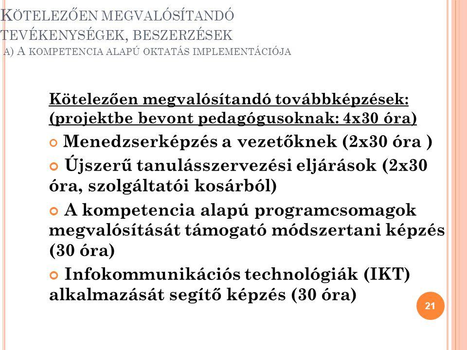 Újszerű tanulásszervezési eljárások (2x30 óra, szolgáltatói kosárból)