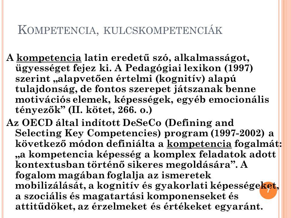 Kompetencia, kulcskompetenciák