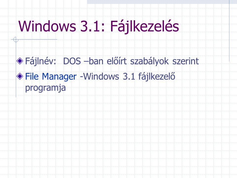 Windows 3.1: Fájlkezelés Fájlnév: DOS –ban előírt szabályok szerint