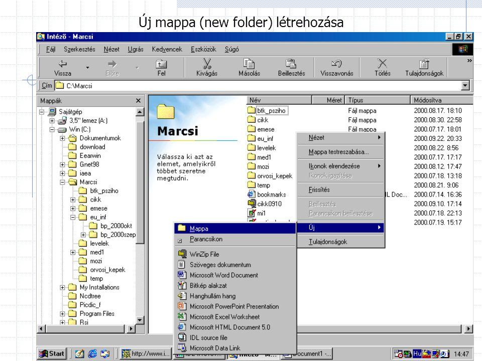 Új mappa (new folder) létrehozása