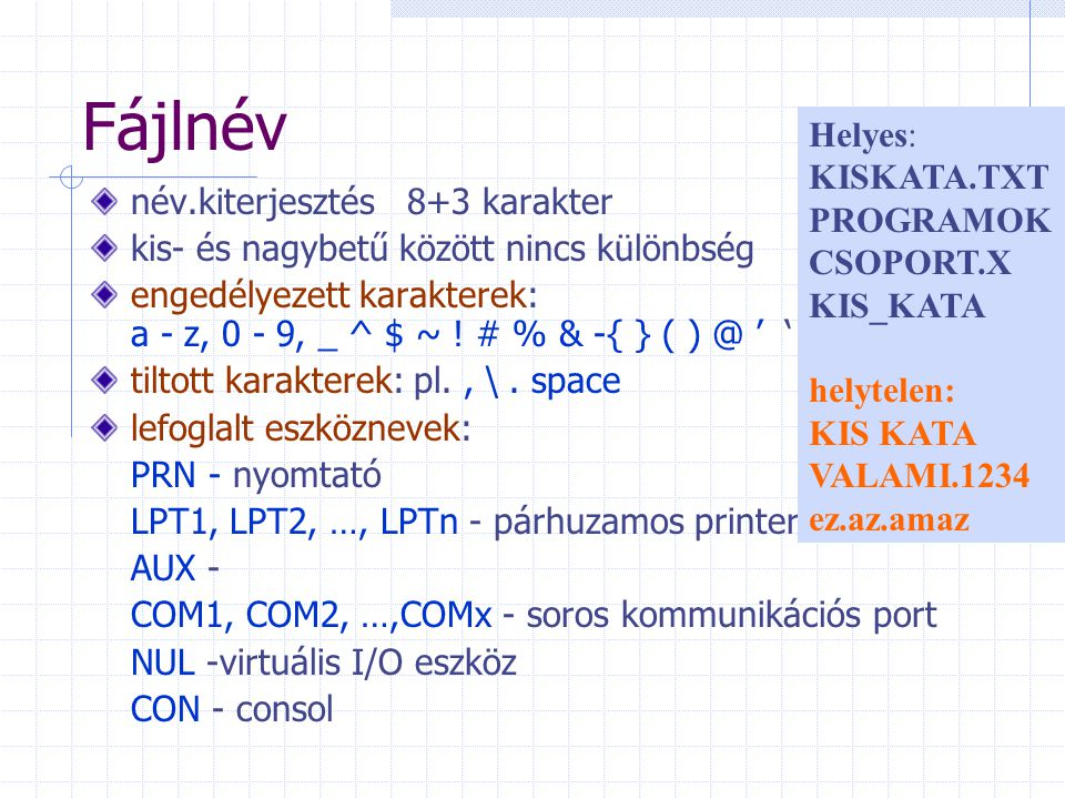 Fájlnév Helyes: KISKATA.TXT PROGRAMOK CSOPORT.X