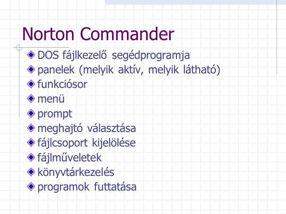 Norton Commander DOS fájlkezelő segédprogramja