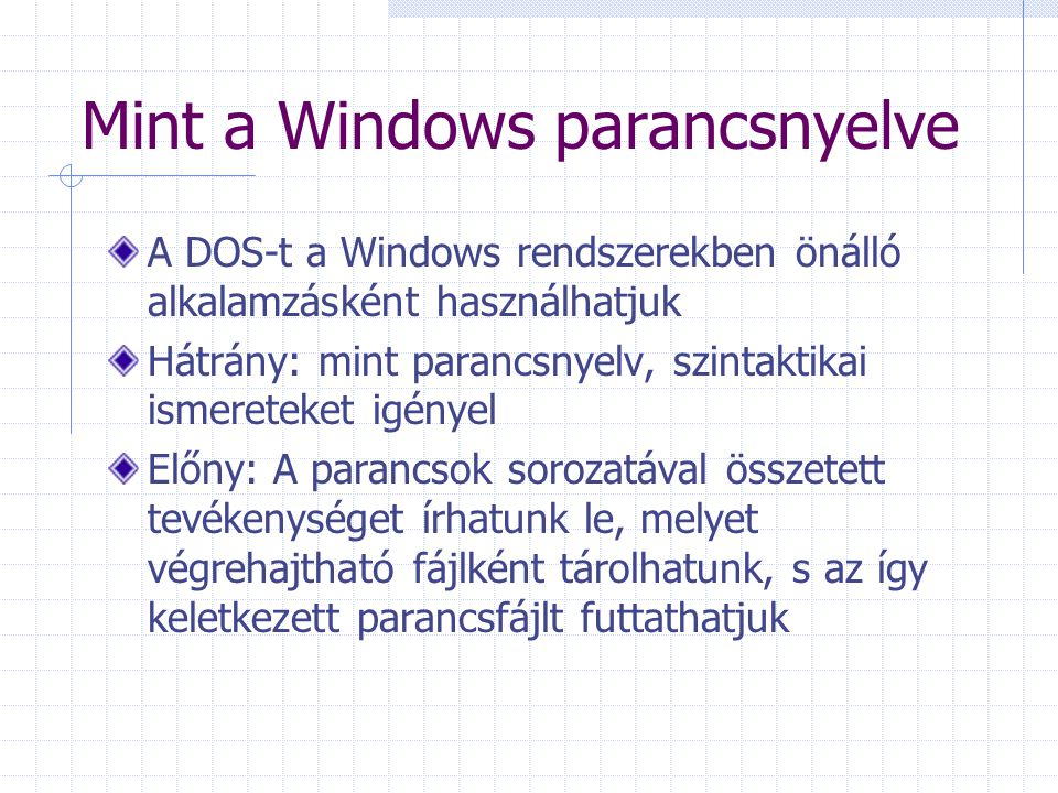 Mint a Windows parancsnyelve