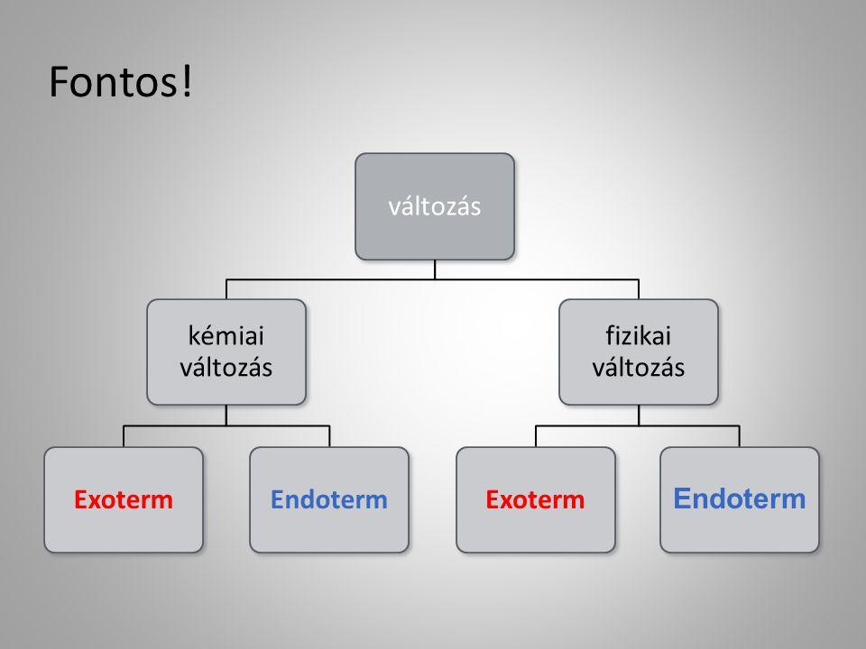 Fontos! változás kémiai változás Exoterm Endoterm fizikai változás
