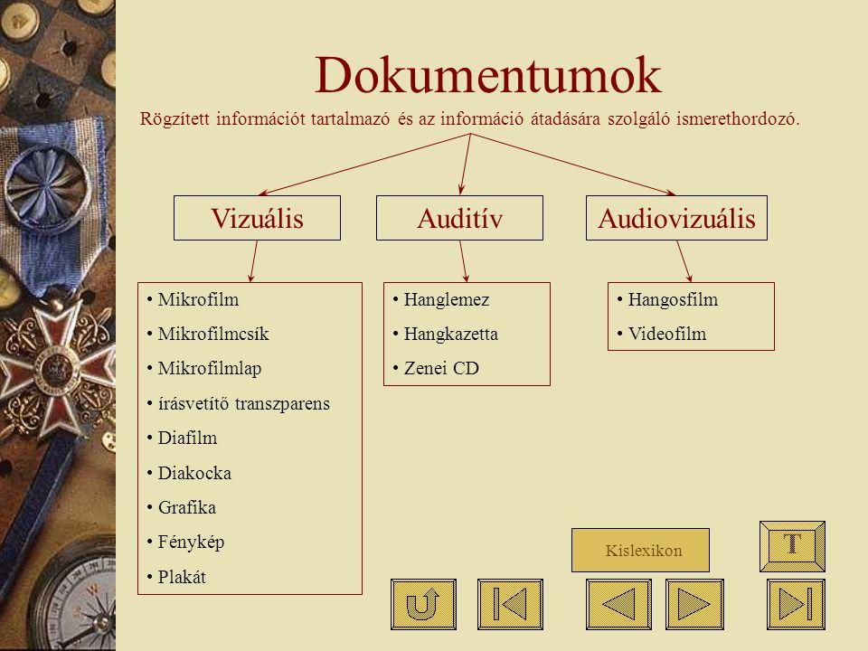 Dokumentumok Vizuális Auditív Audiovizuális T