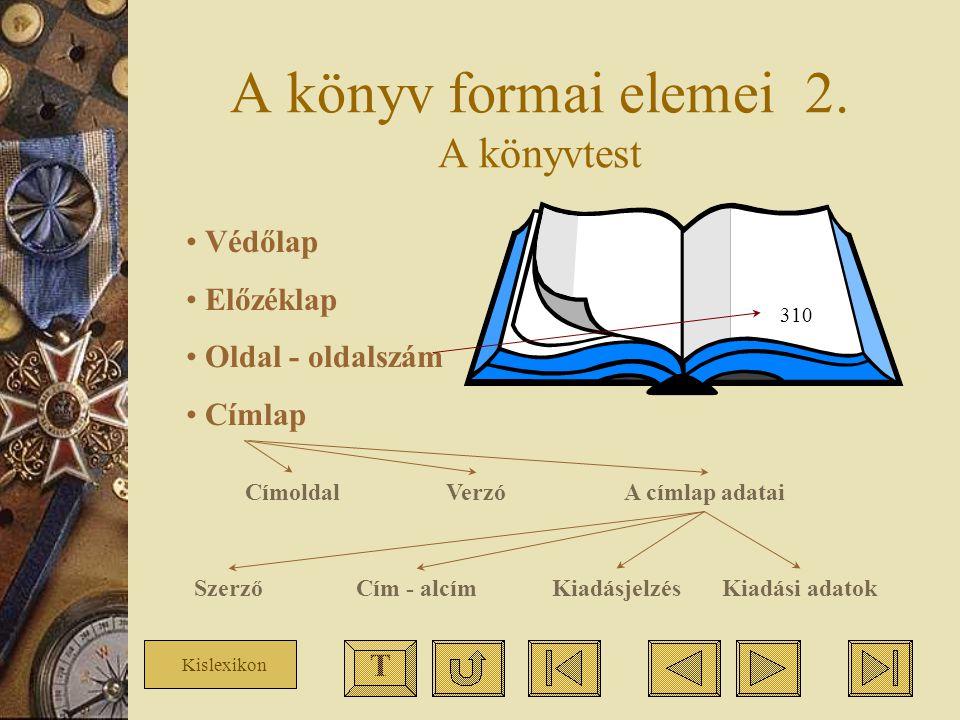 A könyv formai elemei 2. A könyvtest