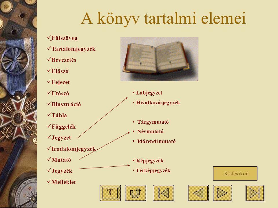 A könyv tartalmi elemei