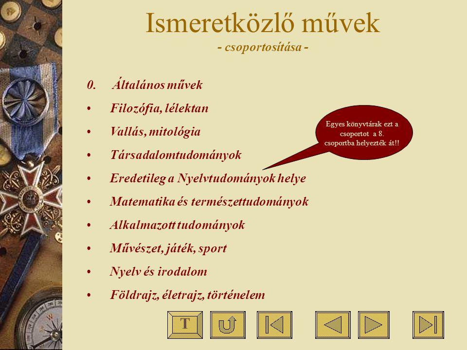 Ismeretközlő művek - csoportosítása -