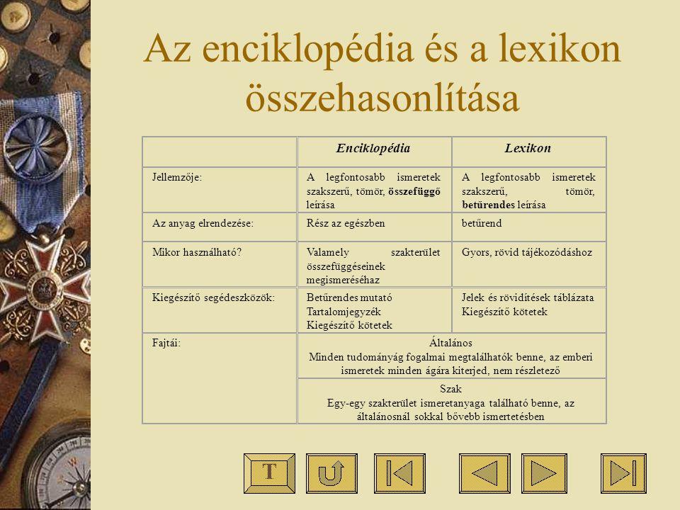 Az enciklopédia és a lexikon összehasonlítása