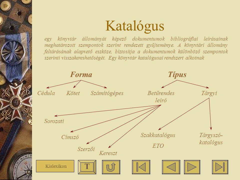 Katalógus Forma Típus T Cédula Kötet Számítógépes Betűrendes leíró