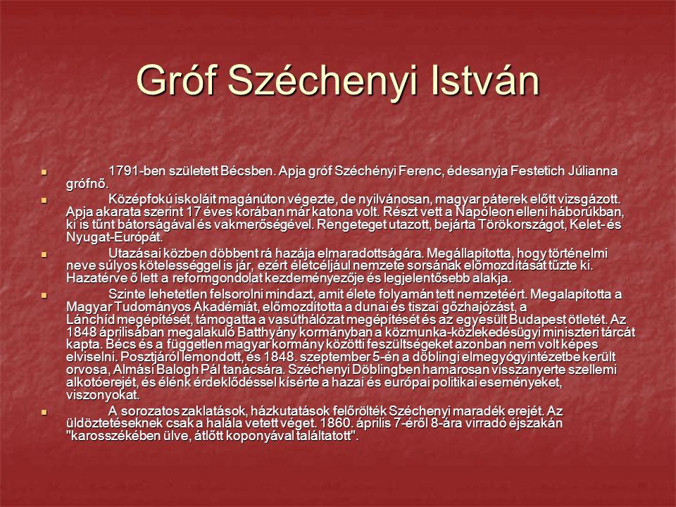 Gróf Széchenyi István 1791-ben született Bécsben. Apja gróf Széchényi Ferenc, édesanyja Festetich Júlianna grófnő.