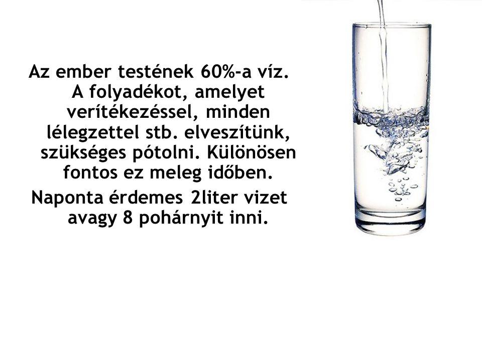 Naponta érdemes 2liter vizet avagy 8 pohárnyit inni.