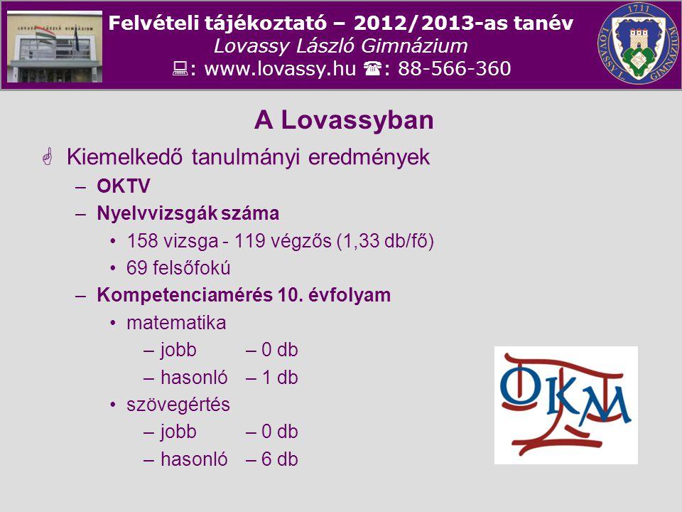 A Lovassyban Kiemelkedő tanulmányi eredmények OKTV Nyelvvizsgák száma
