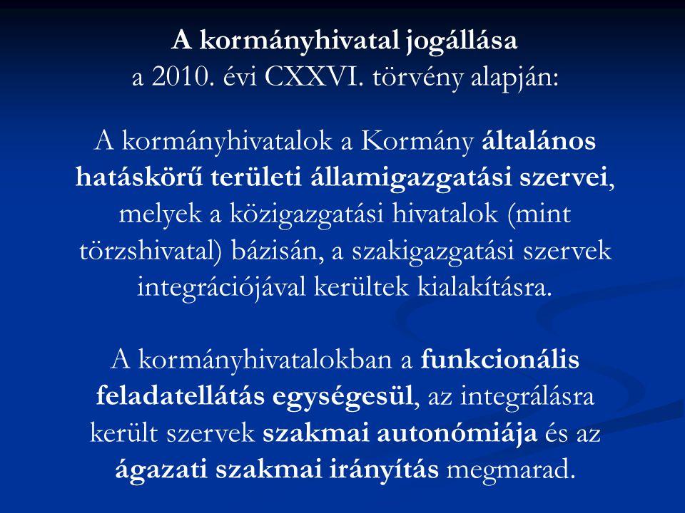 A kormányhivatal jogállása a 2010. évi CXXVI. törvény alapján: