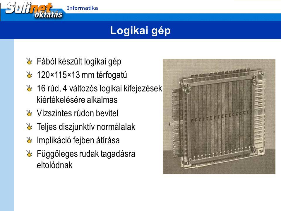 Logikai gép Fából készült logikai gép 120×115×13 mm térfogatú