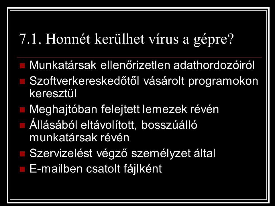 7.1. Honnét kerülhet vírus a gépre