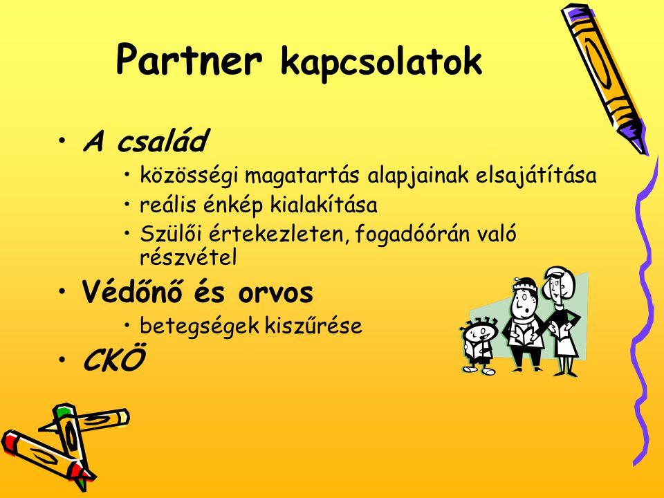 Partner kapcsolatok A család Védőnő és orvos CKÖ